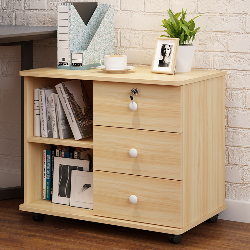 Wooden Office Document Cabinet Locked Drawer Data Storage Cabinet Floor Moving Low Cabinet Movable Cabinet Storage Under Table