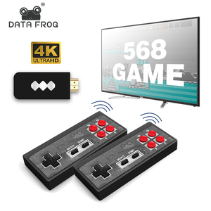 DATA FROG Wireless USB Video Game Console Built in 1400 Classic NES Games Support AV/HDMI Out 4k Dual Handheld Game Console