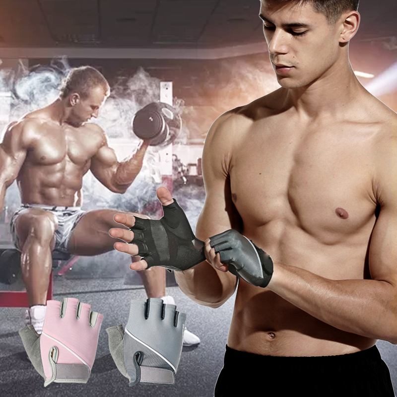 Professional Gym Fitness Gloves Power Weight Lifting Women Men Crossfit Workout Cycling Bodybuilding Half Finger Hand Protector