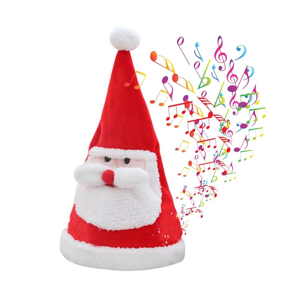 Electric Christmas Hat Plush Sing Santa Hat Toys Glowing Swing Dancing Santa Hat Electric Music Toy Xmas Gift For Kids