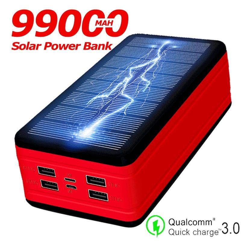 Chargeur portatif de la grande capacité 99000mAh de banque d'énergie solaire LED imperméabilisent la batterie extérieure pour l'iphone Xiaomi Samsung