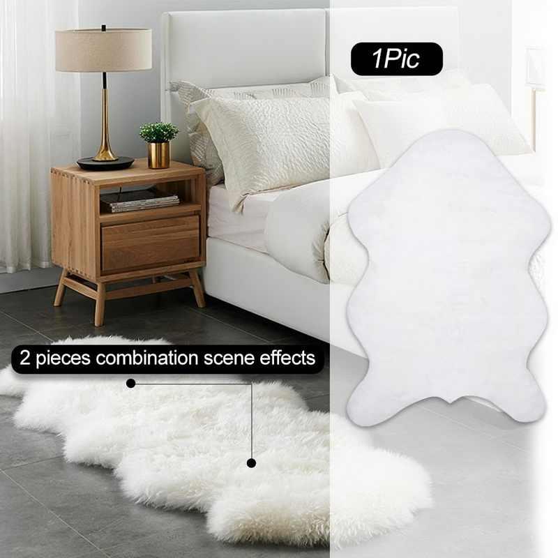 FUNIQUE piel de oveja Artificial alfombra peluda sala de estar alfombras de dormitorio piel lisa alfombra de área mullida alfombra lavable dormitorio Faux Mat