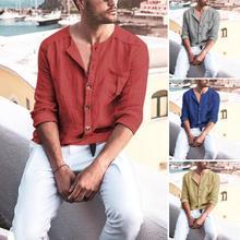 Мужчины однотонный цвет пуговица пух длинный рукав хлопок лен свободный рубашка блузка топ