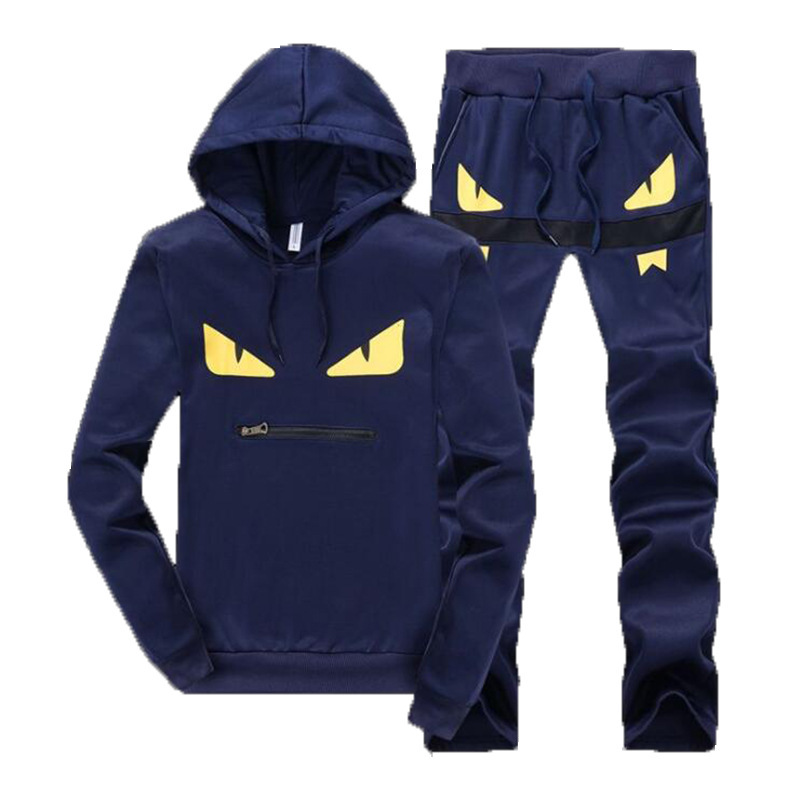 2019 Autumn And Winter Men Hooded Leisure Suit Men's Youth Sports Set Men's Trend Little Monster Printed Students