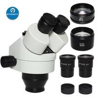 Microscopio Trinocular Focal 7X-45X 3.5X-90X, cabeza de microscopio estéreo con Zoom 0.5X 2.0X, lente objetivo auxiliar, soldadura PCB