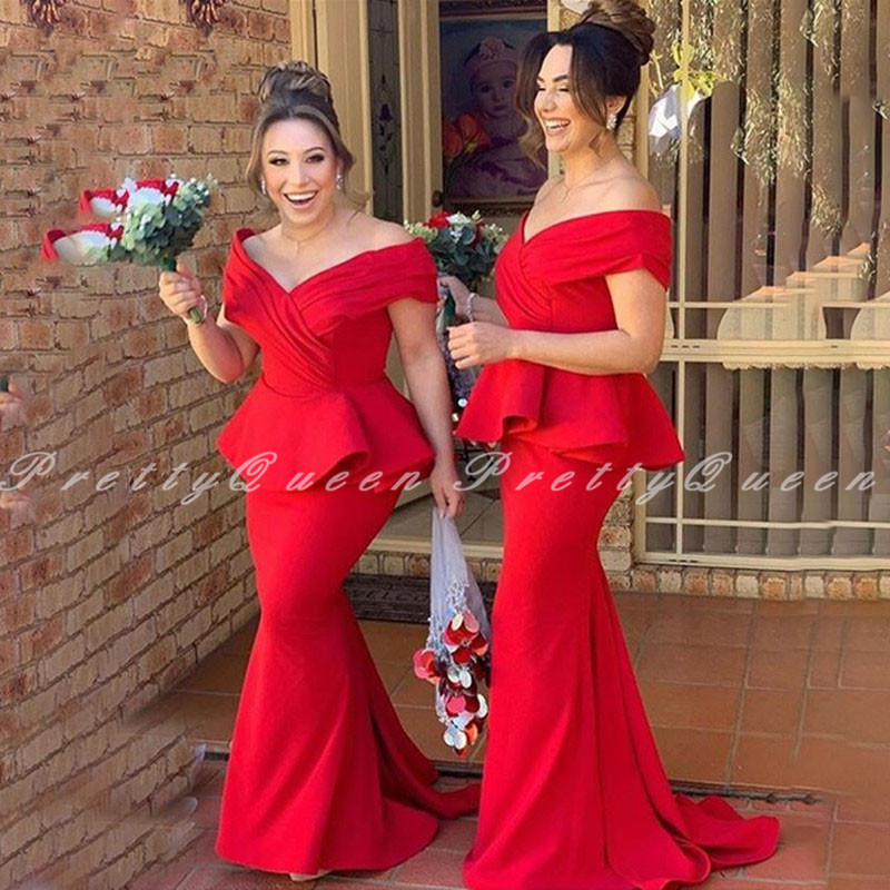 2020 Red Long Bridesmaid Dresses With Pepulm Off Shoulder Mermaid Vestidos Wedding Party Dress Formal Gown