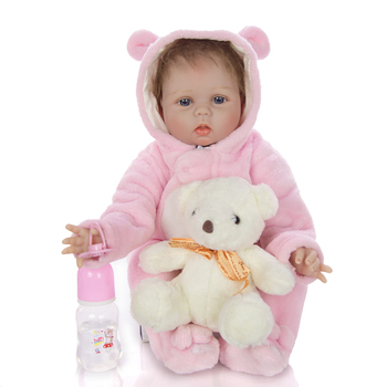 22inch Reborn Baby Doll 3/4 Silicone reborn Bonecas Lifelike Realistic Alive girl bebe reobrn toy for kids Christmas Gift Toys