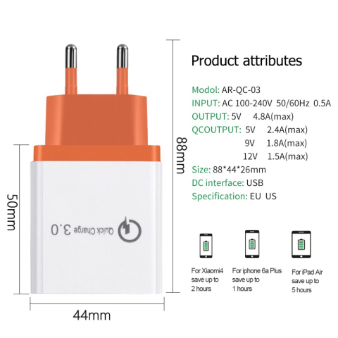 3 Ports Quick Charger 3.0 USB Charger Power Wall Adapter for iPhone iPad Samsung Xiaomi Mobile Phones QC3.0 Travel Fast Charger Lahore