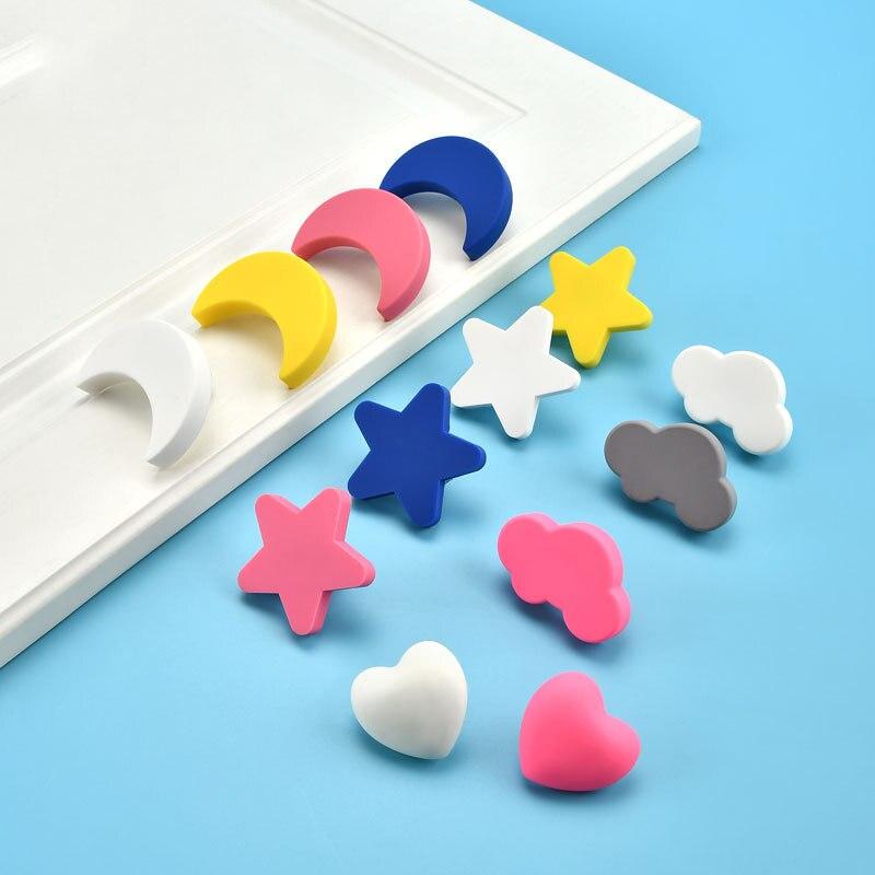 Детские резиновые дверные ручки, милые ручки розового цвета в форме сердца, звезды, месяца, облака, для кухонного шкафа, Мебельная ручка, выд...