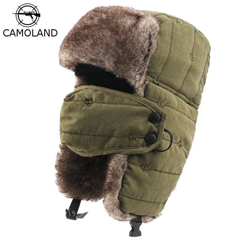 CAMOLAND Warm Trapper Hat For Men Women Windproof Winter Bomber Hats Thermal Faux Fur Earflap Snow Cap With Mask Ushanka Hats