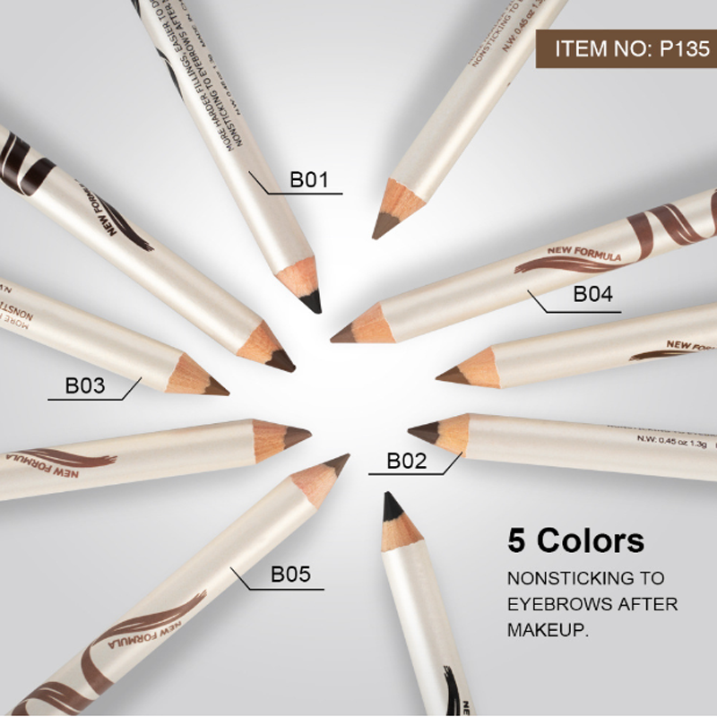 Çift kafa kaş kalemi kaş fırçası ile doğal uzun ömürlü su geçirmez tonu kozmetik kaş kalemi gözler makyaj