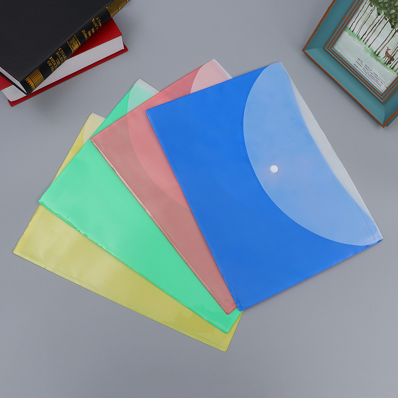 New Arrival A4 Clear Document Bag Paper File Folder Stationery School Office Case PP 6 Colors Filing Products