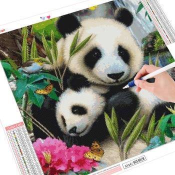 HUACAN Diamond Embroidery Animal 5D DIY Diamond Painting Full Square Panda Diamond Mosaic Picture Of