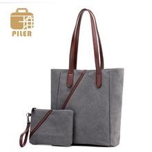 2pcs/set Women Canvas Shoulder Bags for Women 2019 Composite Bag Handbag Designer Women Messenger Bags Ladies Casual Tote Clutch цена и фото