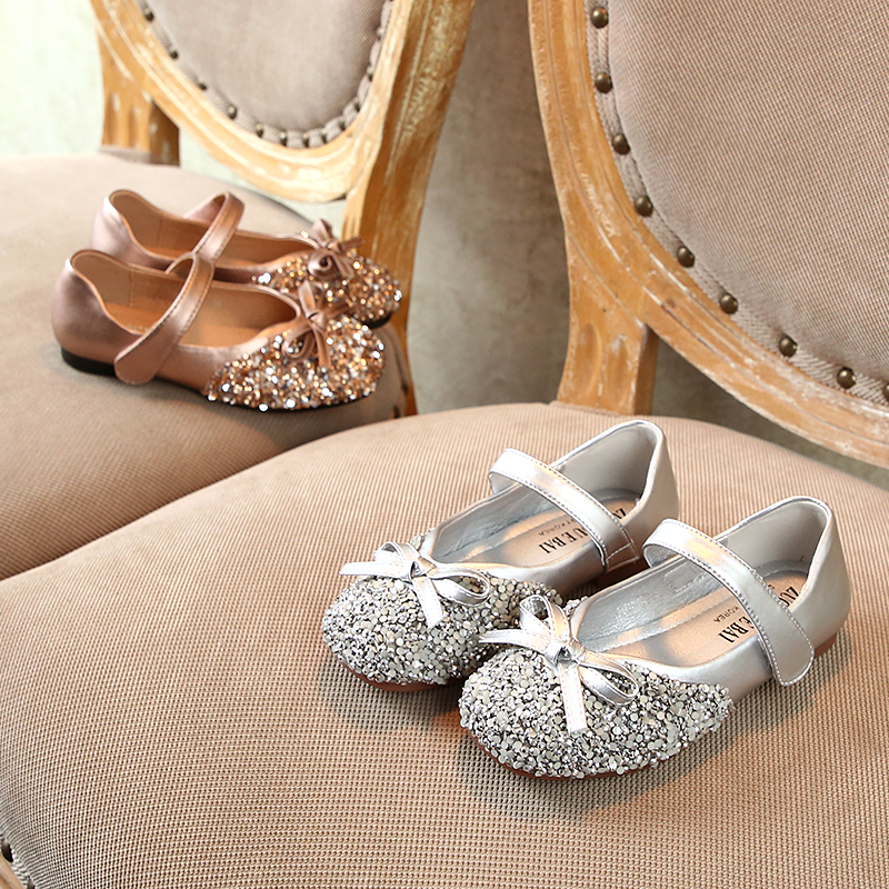 Rhinestone Bow Children's Single Shoes 2020 Spring New Children's Shoes Girls Princess Shoes Baby Toddler Shoes Size 15-37