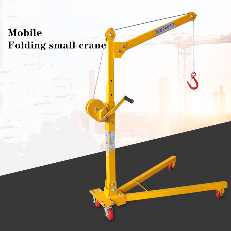 Mobile Folding Lifting Crane 200KG Small Lifting Platform Multi-function Workshop Crane Hand Lifter