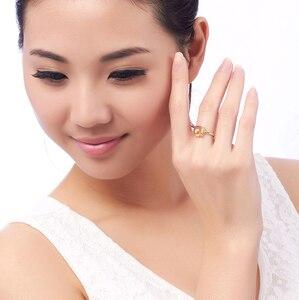 Image 4 - LSZB anillo de oro puro de 18K con citrino Natural para mujer, sortija con forma de corazón, superventas, 2020