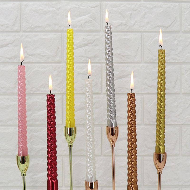 Smokeless long pole candle 12 Pcs/Set Taper Spiral Twisted Dinner Table Candle Wax Thread candle