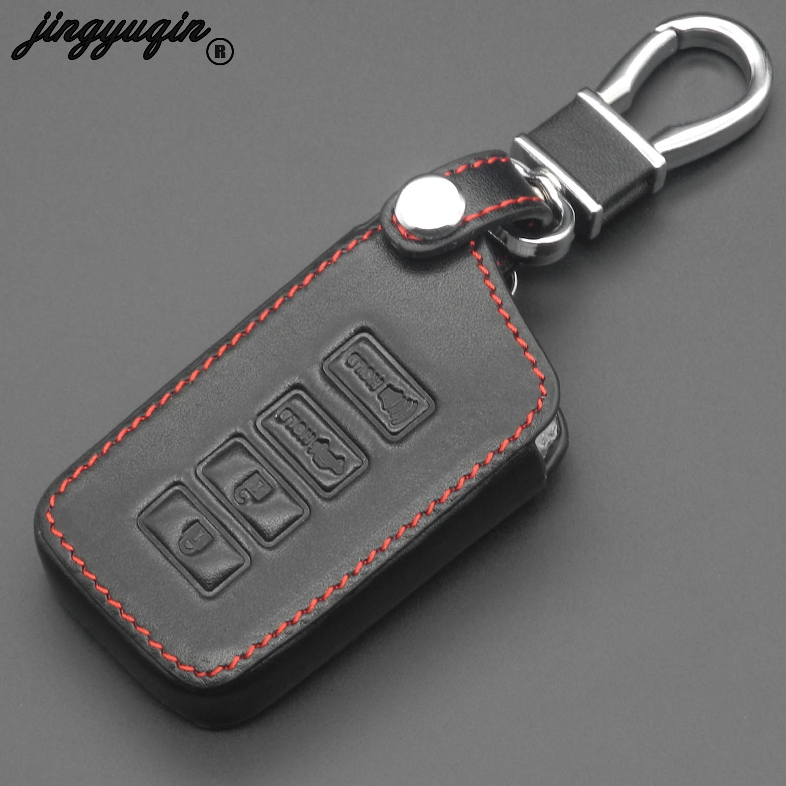jingyuqin 4 Buttons Car Key Cover Leather Fob For <font><b>LEXUS</b></font> NX 200 NX300H <font><b>RX</b></font> <font><b>350</b></font> 450H ES <font><b>350</b></font> GS IS GS RC F <font><b>2014</b></font> 2015 2016 keychain image