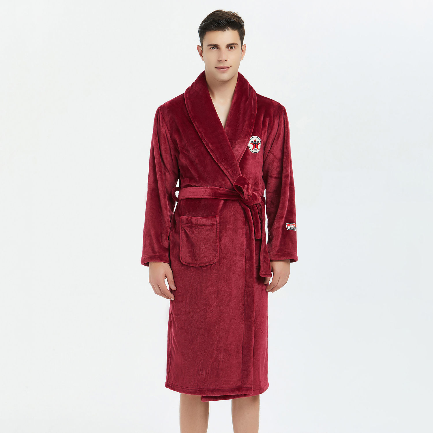 Keep Warm Flannel Men Robe Kimono Gown Nightwear Elegant Solid Burgundy Sleepwear Casual Bathrobe Gown Nightgown Soft Homewear