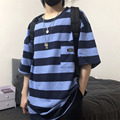 Hot Hip Hop Streifen Jugendliche Vitalität Short Slevees t-shirt Harajuku Lose Unisex Punk Stil Casual Top Kpop Pullover Streetwear
