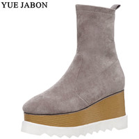 2020 YUE JABON Handmade Stretch Suede Boots Women Black Winter Autumn Fashion Motorcyle Boots Woman Thick Bottom Wedge Shoes