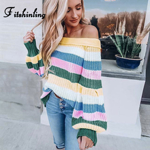 Fitshinling Off Shoulder Striped Women Sweaters And Pullovers Multicolor Autumn Winter Ladies Sweater Knitted Jumper Pull Femme