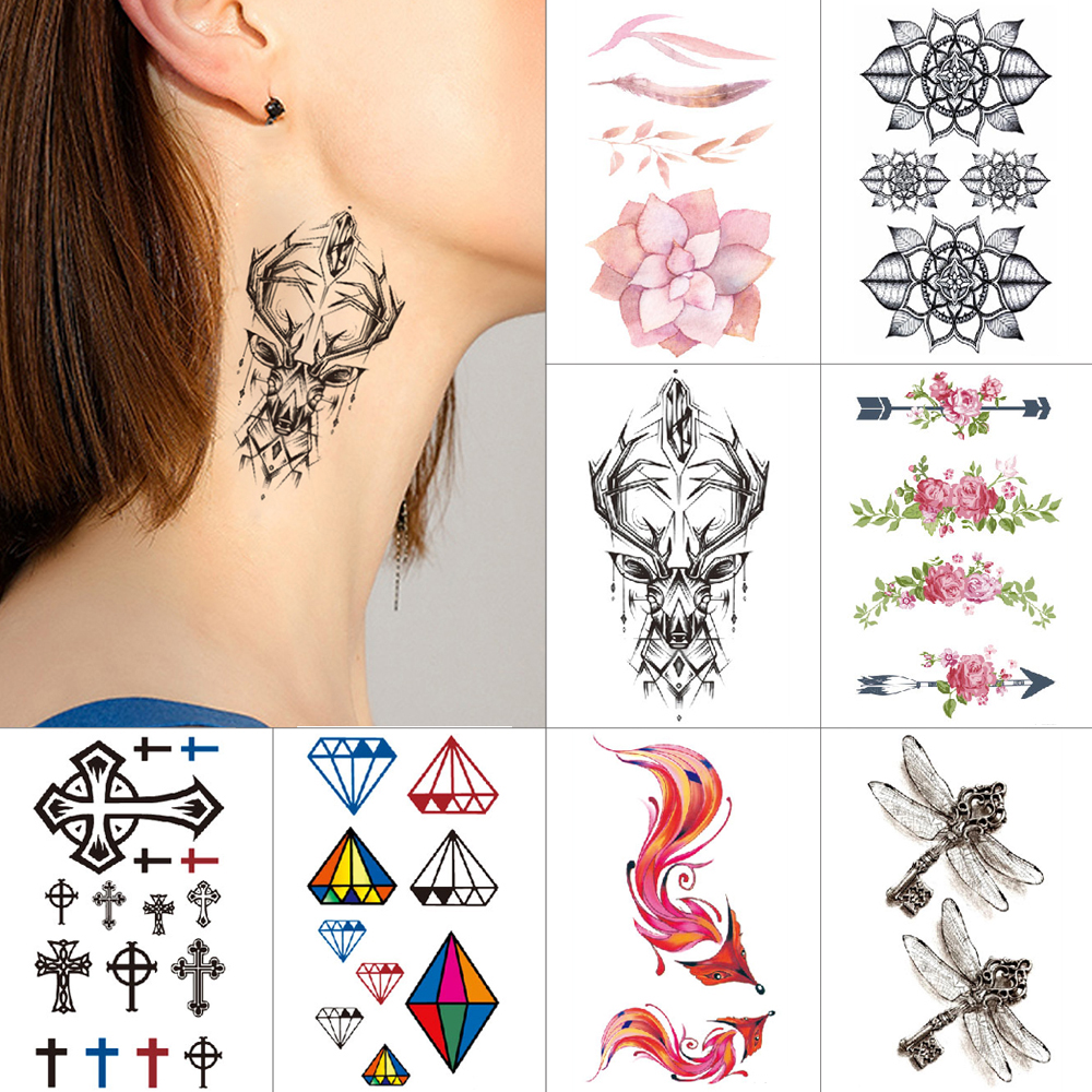 Small Waterproof Temporary Tattoo Stickers Maple Flower Fox Spider Neck Tattoo 1 Piece Body Art Sexy Tattoo Paint Water Transfer