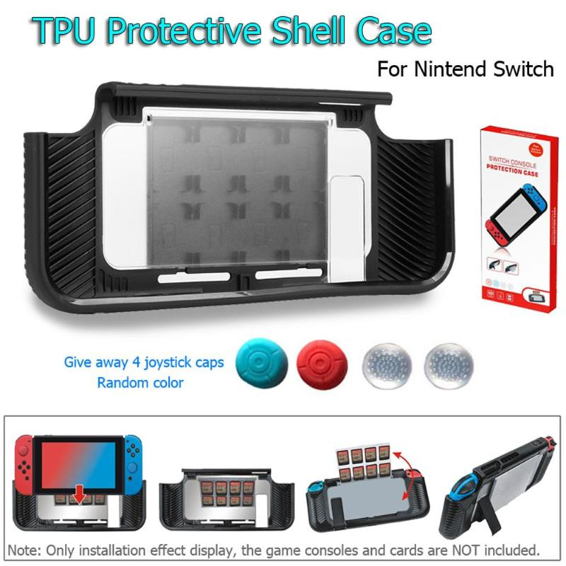 ALLOYSEED TPU Protective Back Cover Case With 8 Game Card Storage Slot For Nintend Switch Game Console Controller Grips Covers