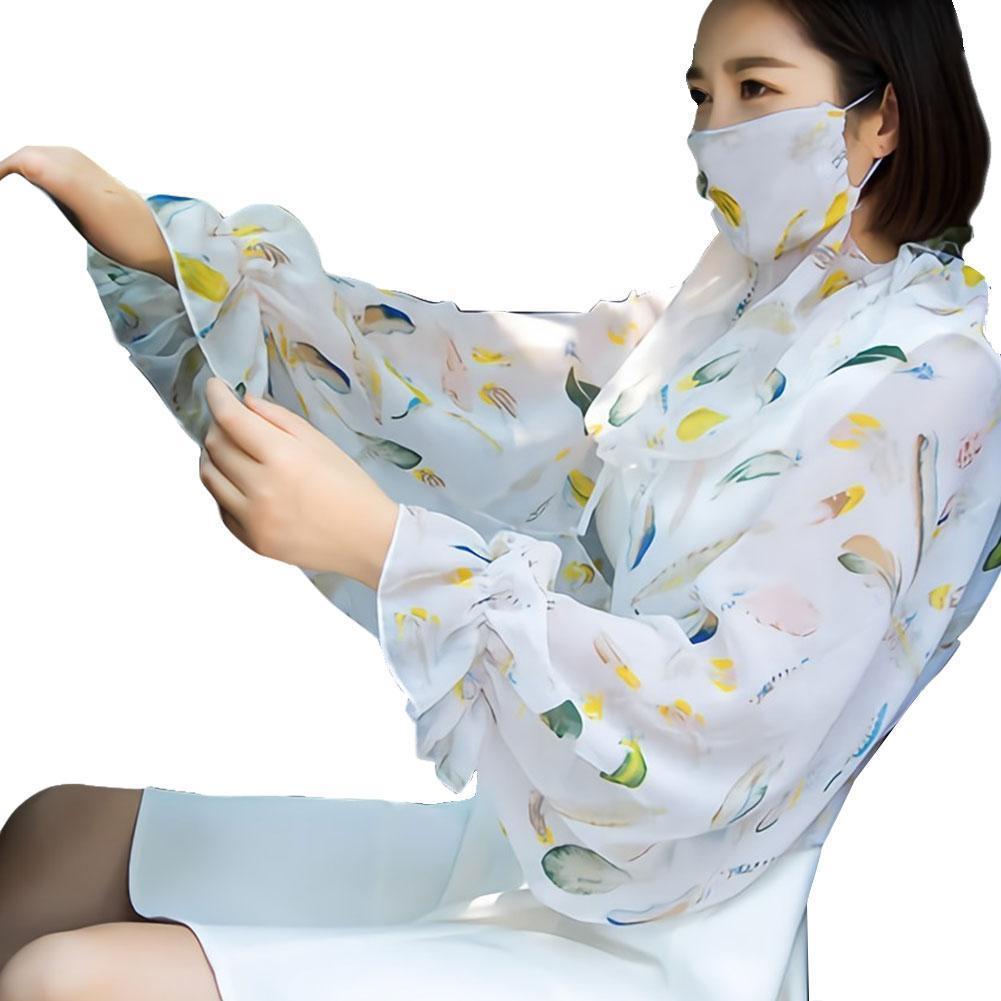 Summer Multifunctional Printing Chiffon Sun Protection Anti-uv Breathable Shawl Scarf And Sleeve Shawl Women Thin W6B5