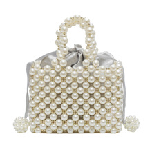 Handmade Woven Pearl Handbags Womens Bag Beaded Pocket Lady Evening Clutch Cell Phone Flap female Purse Luxury design 2019