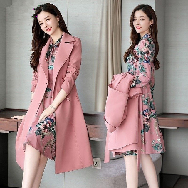 Spring Autumn Trench Coat Slim OL Ladies Trench Coat Women Dress Women Windbreakers Plus Size Two Pieces Women Sets Trench Coats 2