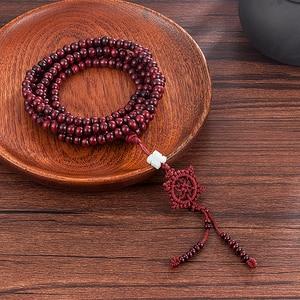Image 5 - 2 colore Naturale Profumato Perline di legno di Sandalo Braccialetto Buddista Meditazione Branelli di Preghiera di Mala Del Braccialetto Della Mano Della Collana