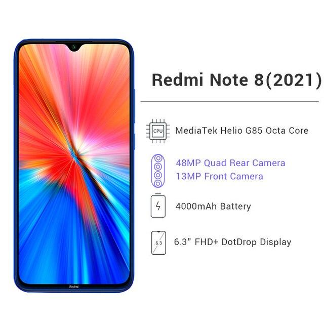 "Global Version Xiaomi Redmi Note 8 (2021) 4GB 64GB / 128GB Smartphone Helio G85 Octa Core 6.3"" 48MP Quad Rear Camera 4000mAh 3"