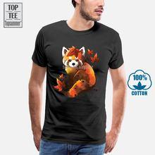 Красная футболка с принтом «панда рубашки в виде кленового листа