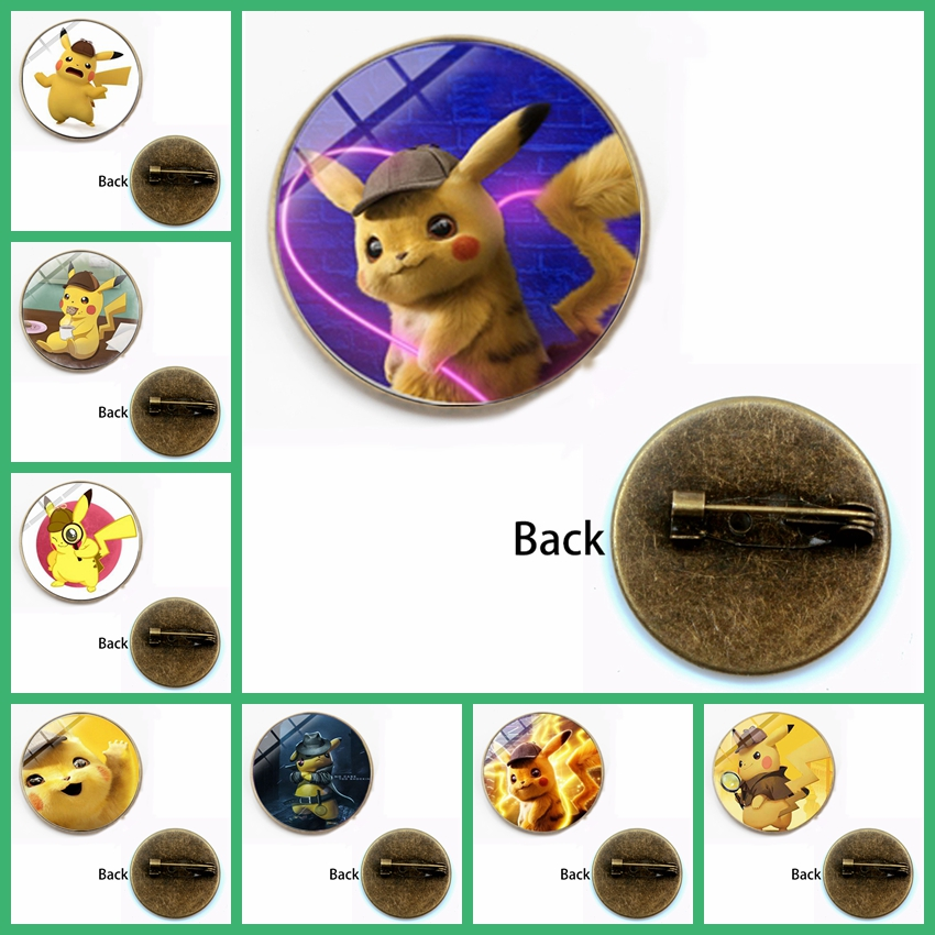 New Hot POKEMON Detective Pikachu Badge Brooch Handmade Photo Glass Cabochon Metal Brooch Japanese Anime Serie Llaveros Fan Gift image