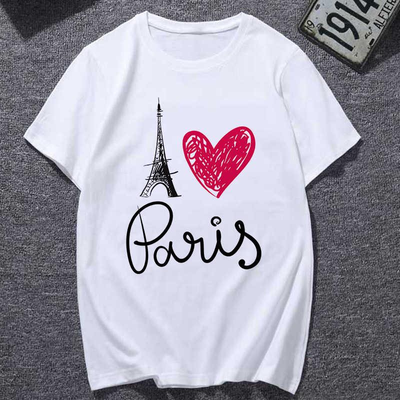VINTAGE Gothic ฤดูร้อนความงาม Paris Love พิมพ์เสื้อ T กราฟิก Harajuku แฟชั่นมังสวิรัติ Tees E สไตล์สาวเสื้อผ้าผู้หญิง