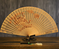 Suzhou Classical In National Customs Sandalwood Fan Hollow Out Wenwan Gift Fan Arts And Crafts Sandalwood Fan