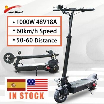 Jueshuai-patinete eléctrico para adulto, Scooter con Motor de 1000W, batería de 60 KM/H y 18AH, neumático plegable de 8 pulgadas