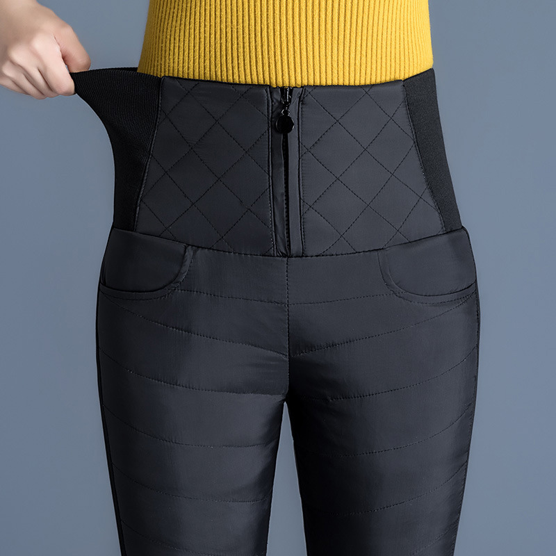 Plus Size 5XL Winter Down Women's Pencil Pants High Elastic Waisted Thicken Warm Trousers For Women 2019 Patchwork Black Pant