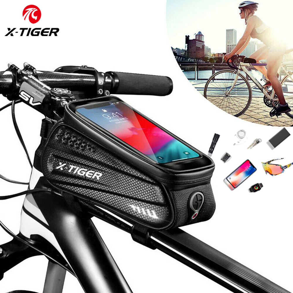 X-TIGER Bicycle Bag Rainproof Bike Bag Frame Front Top Tube MTB Waterproof Cycling Bag 3D Shell Reflective Phone Touchscreen Bag