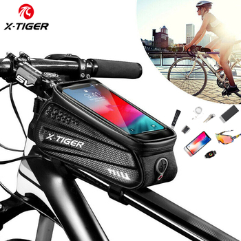 X-TIGER Bicycle Bag Rainproof Bike Frame Front Top Tube MTB Waterproof Cycling 3D Shell Reflective Phone Touchscreen - discount item  45% OFF Cycling