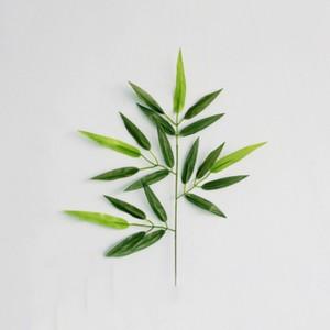 Image 4 - 5pcs סניפים ירוק מלאכותי במבוק עלים משי בד מלאכותי צמחים לחתונה קישוט בית משרד דקורטיבי עלים