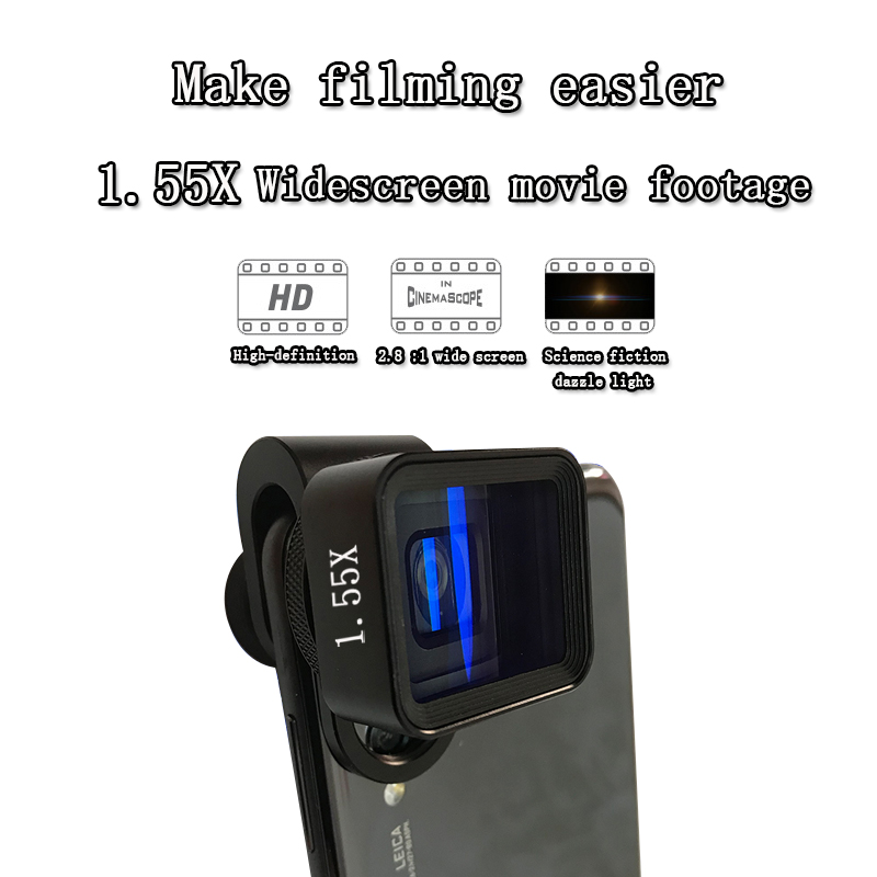 1.55X Anamorphic Lens HD Widescreen Movie Lens Vlog Video Shooting Universal Deformation Mobile Phone Lens for Iphone Samsung