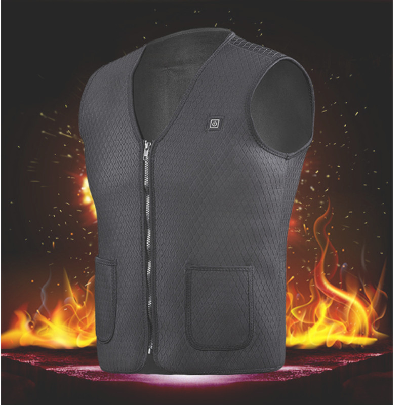 Electric USB Power Supply Warm Heated Vest Mens 5V Heating Jacket Cycling Racing Fishing Hiking Camping Coat Best For Winter