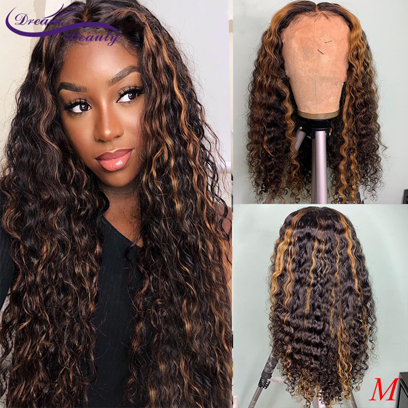 Honey Blonde Curly Lace Front Wig Ombre Highlight Colored 13x6 Lace Front Human Hair Wigs 180% Brazilian Lace Frontal Wig