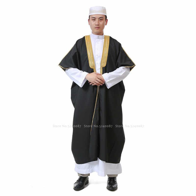 Muslimischen Kleid Männer Abaya Jubba Thobe Traditionellen Gebet Robe Islamische Kleidung Set Dubai Arabisch Pakistan Kaftan Bluse T-shirt Mantel