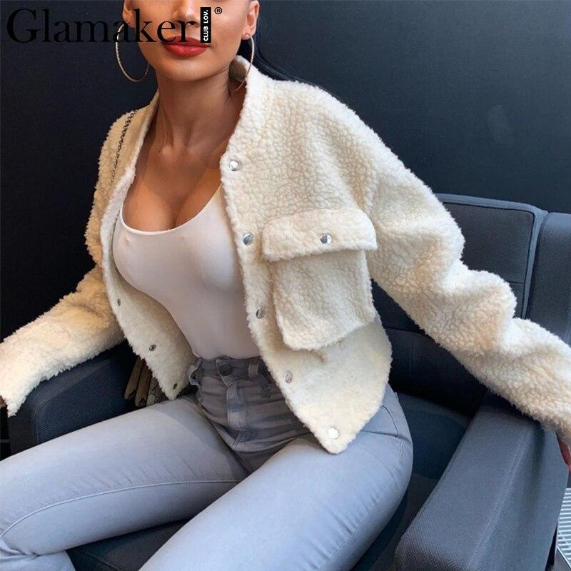 Glamaker Faux Fur Warm Coat Furry Outwear Women Sexy White Pocket Female Teddy Coat Autumn Fake Fur Short Jacket Coat Winter