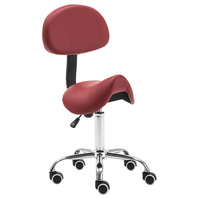Message Saddle Chair With Footrest Swivel Adjustable Leather Chair Medical Spa Drafting Stool With Back For Home Office