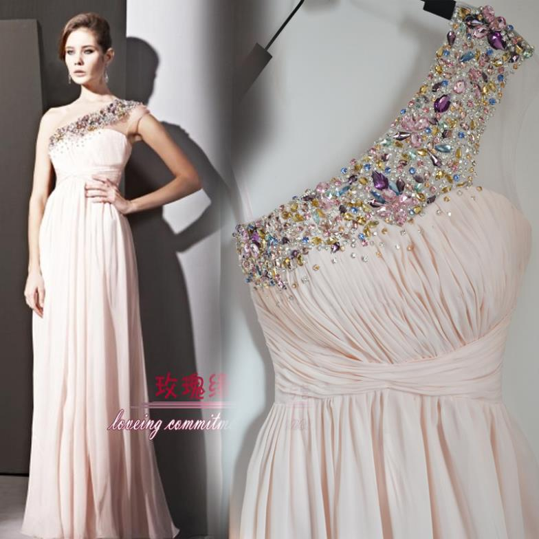 Sexy One Shoulder 2018 Rhinestone Crystal Beading Long Evening Gown Pink Floor Length Long Prom Mother Of The Bride Dresses